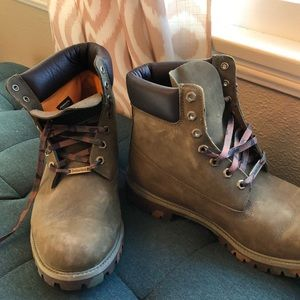 Timberland Camo Green Leather Boots